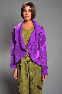Purple spider-pleated jacket.