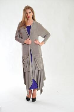 Elegant long slinky dress with large front pockets.