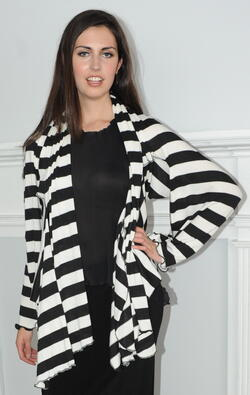 Black and white striped slinky jacket. This jacket has a very simple and casual look and can be paired with a plain black top and jeans.